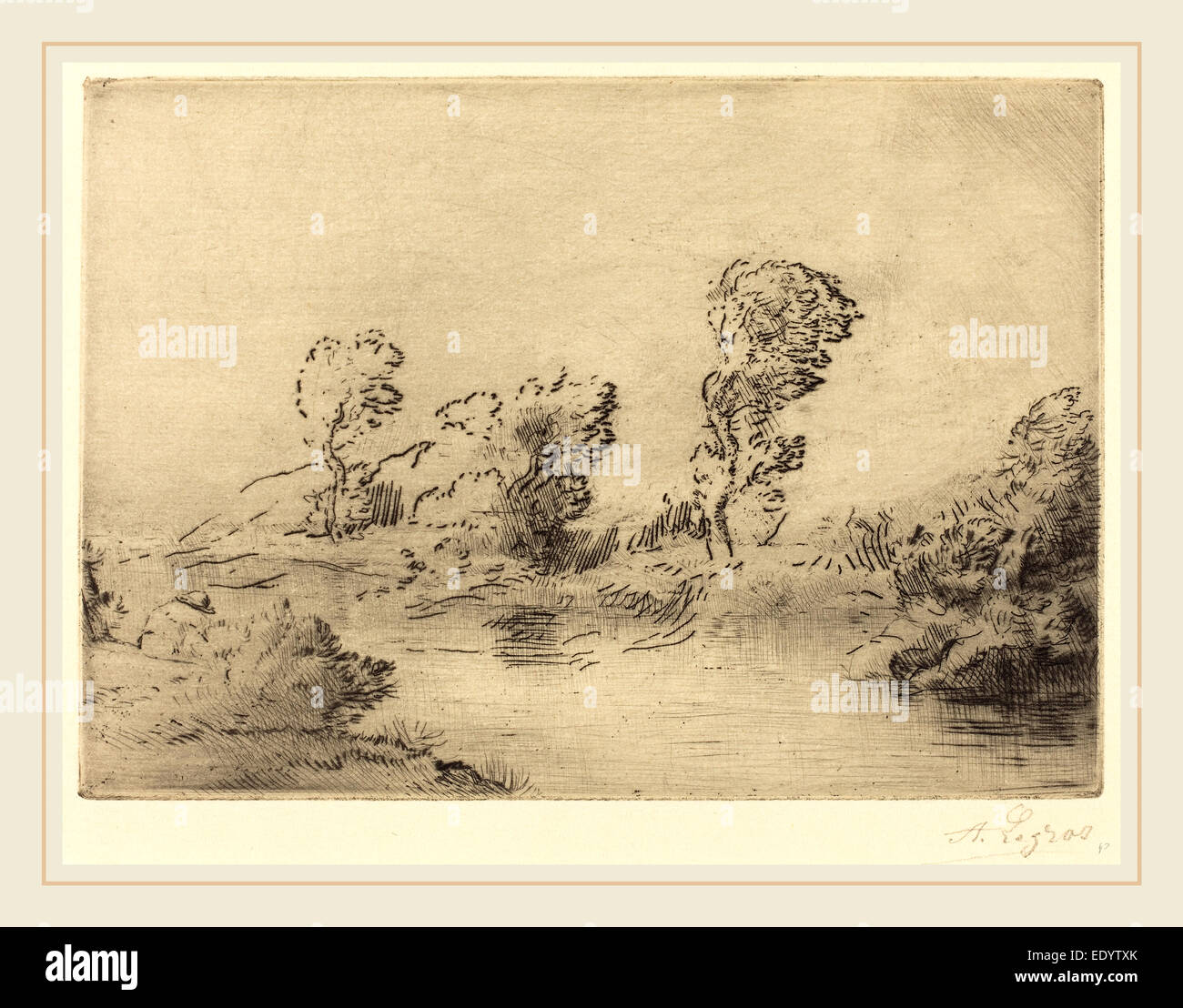 Alphonse Legros, Banks of the Marne (Bord de la Marne), French, 1837-1911, drypoint and (etching?) - Stock Image