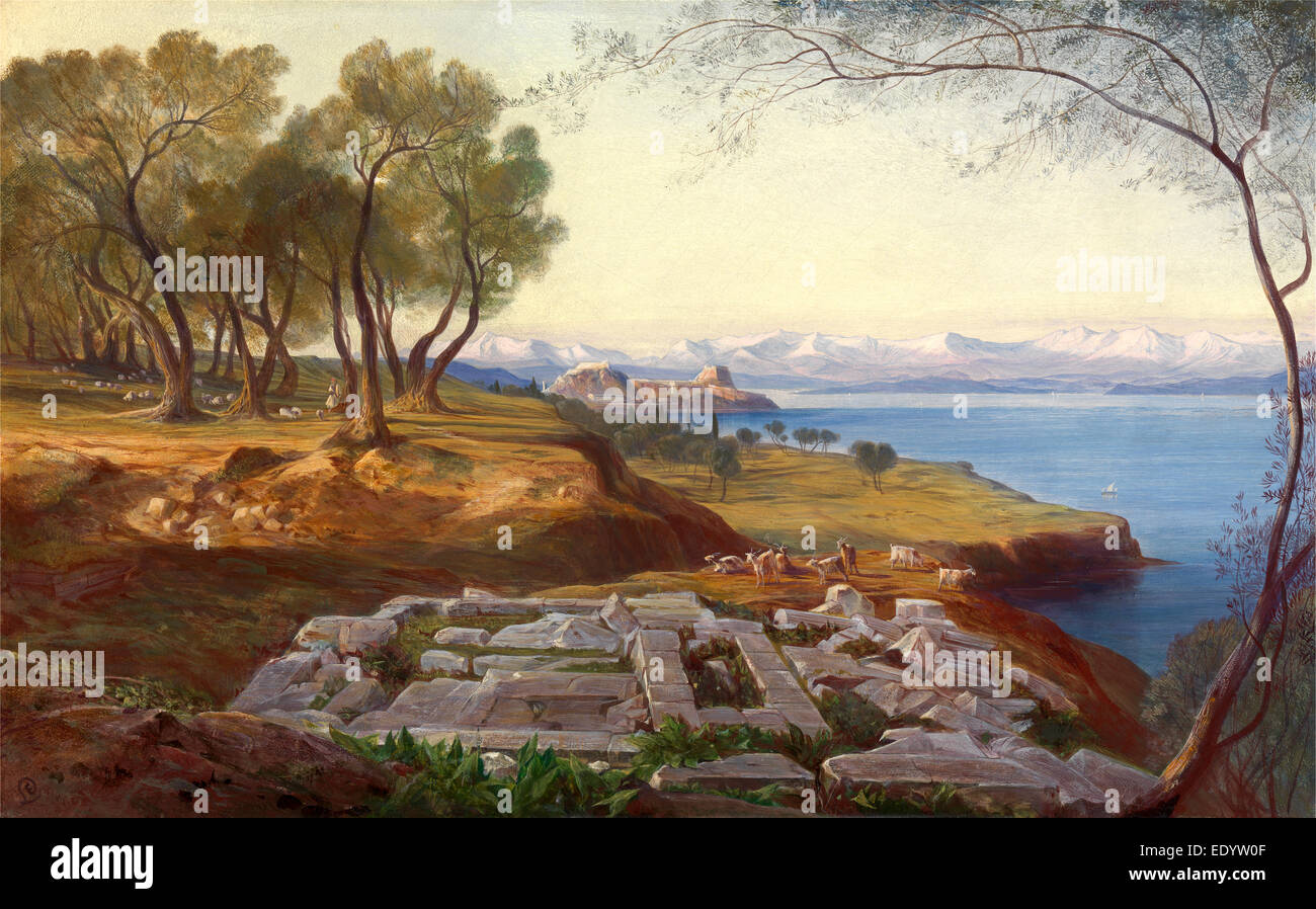 Corfu from Ascension signed, Edward Lear, 1812-1888, British - Stock Image