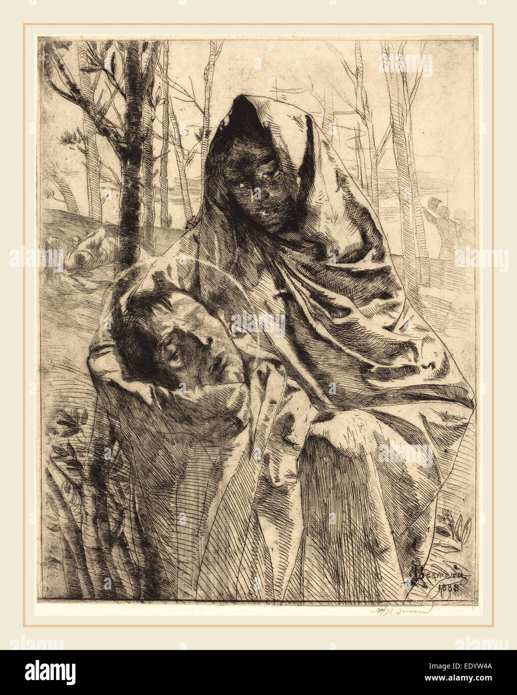 Albert Besnard, French (1849-1934), A Martyr, 1883, etching - Stock Image