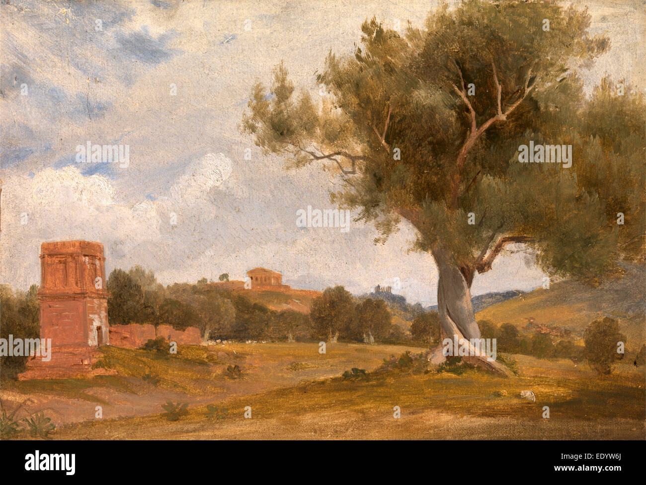 A View at Girgenti in Sicily with the Temple of Concord and Juno, Italy, Charles Lock Eastlake, 1793-1865, British - Stock Image