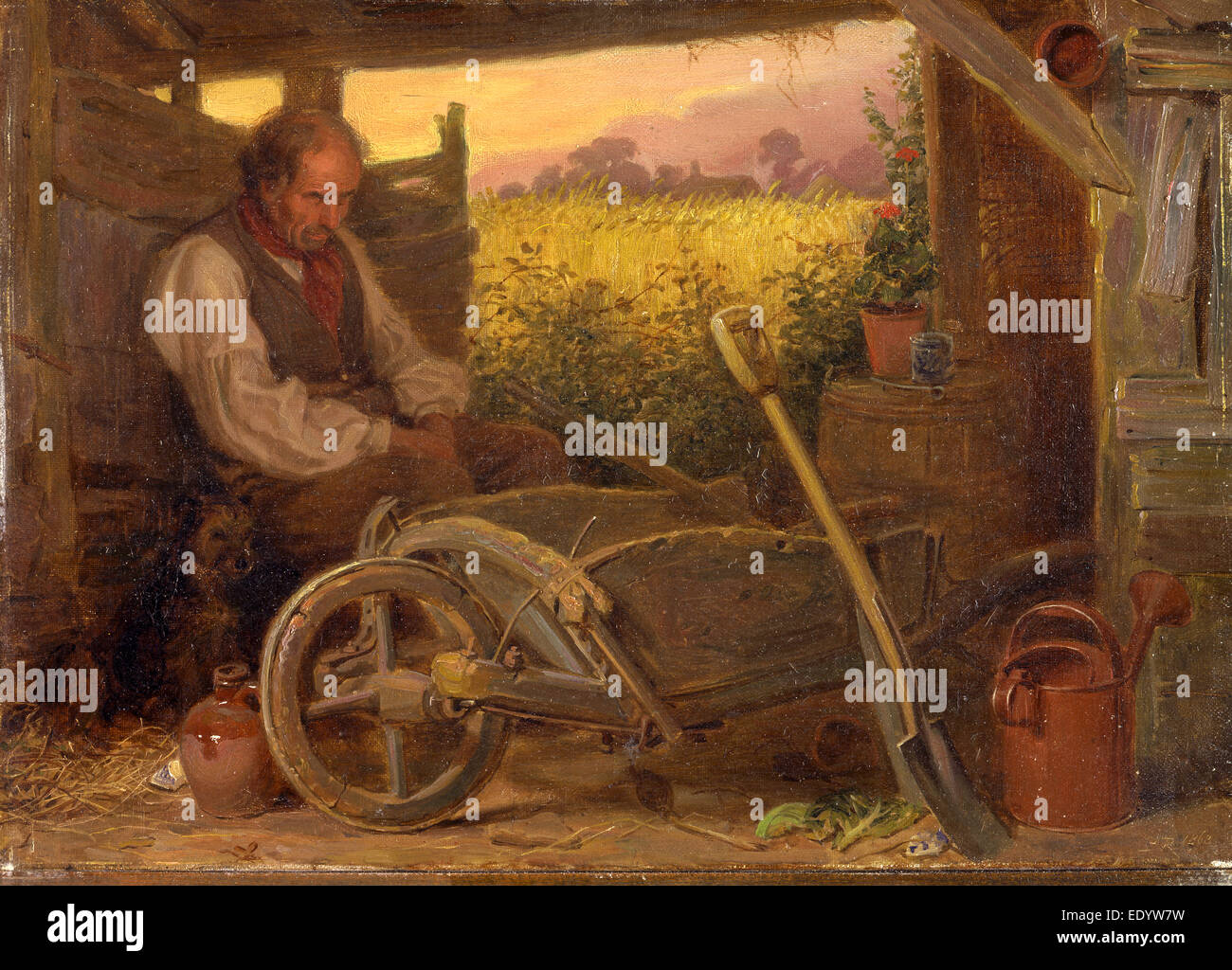 """The Old Gardener Signed and dated, lower right: """"BR 1863"""", Briton Riviere, 1840-1920, British Stock Photo"""