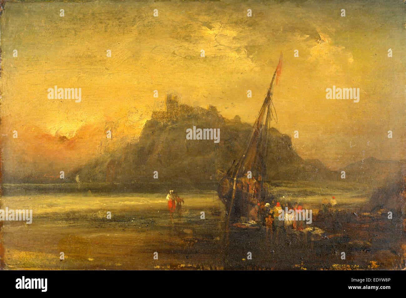 Beach Scene, Attributed to John Sell Cotman, 1782-1842, British - Stock Image