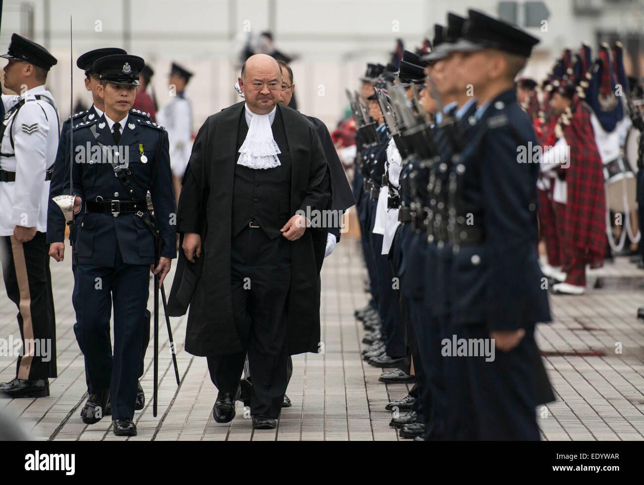 Hong Kong, China. 12th Jan, 2015. Geoffrey Ma Tao-li (C), Chief Justice of the Court of Final Appeal of Hong Kong Stock Photo