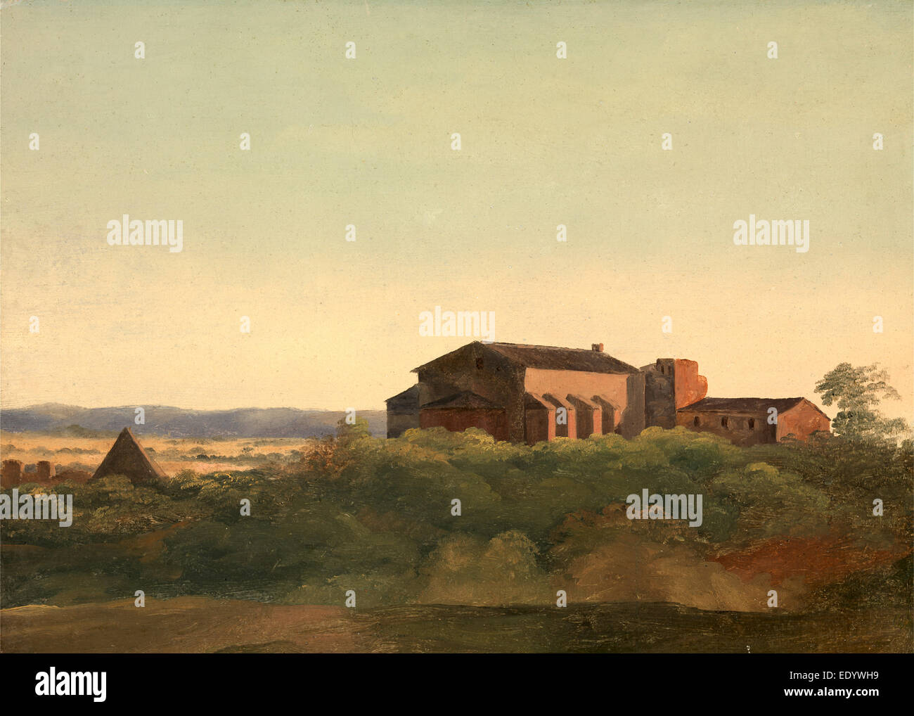 A View of the Church of S. Sabina and the Pyramid of Cestius, Rome, Charles Lock Eastlake, 1793-1865, British - Stock Image