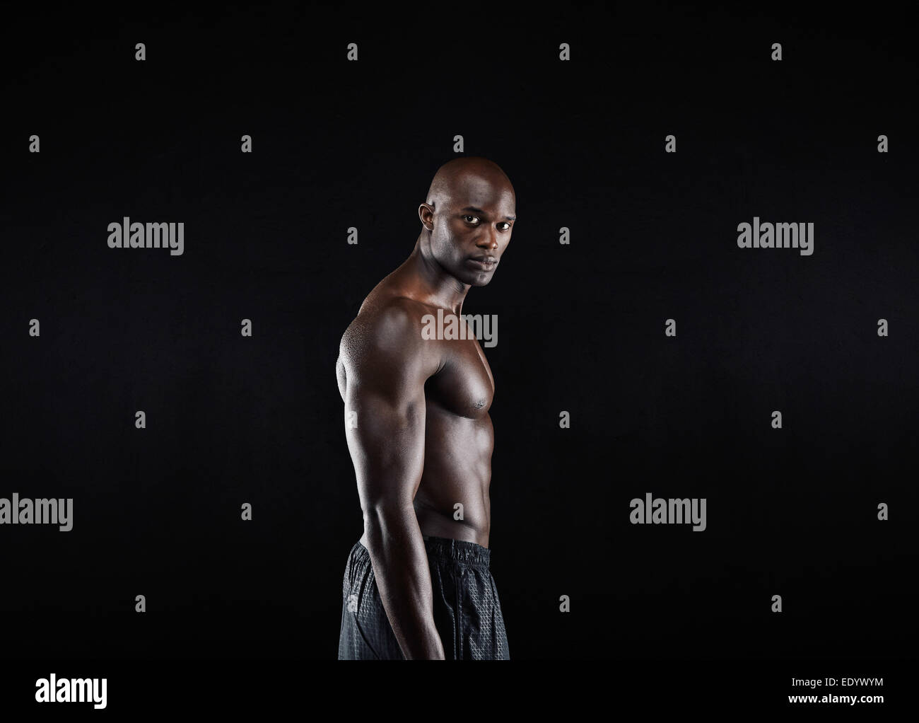 Portrait of masculine young African male model posing shirtless against black background - Stock Image