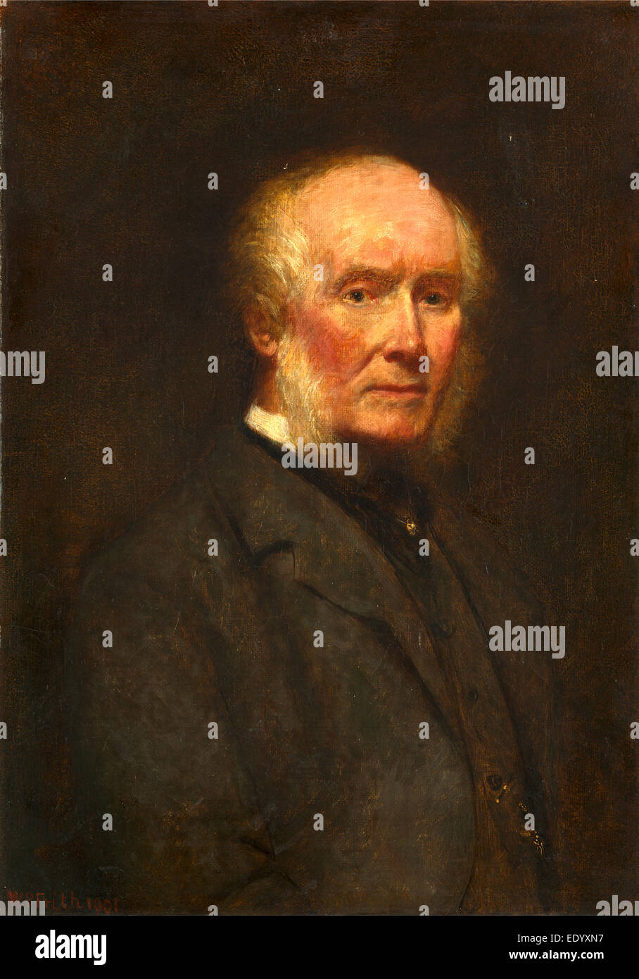 Self-Portrait at the Age of 83 Signed and dated, lower left: 'WP Frith 1901', William Powell Frith, 1819 - Stock Image