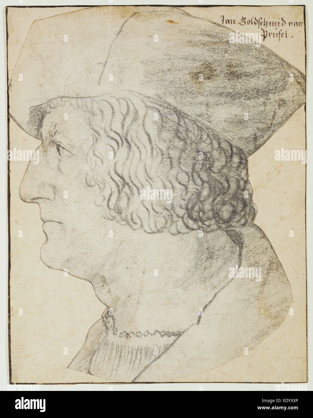 Portrait of Anton Rem; Hans Schwarz, German, about 1492 - after 1521; about 1518; Black chalk - Stock Image