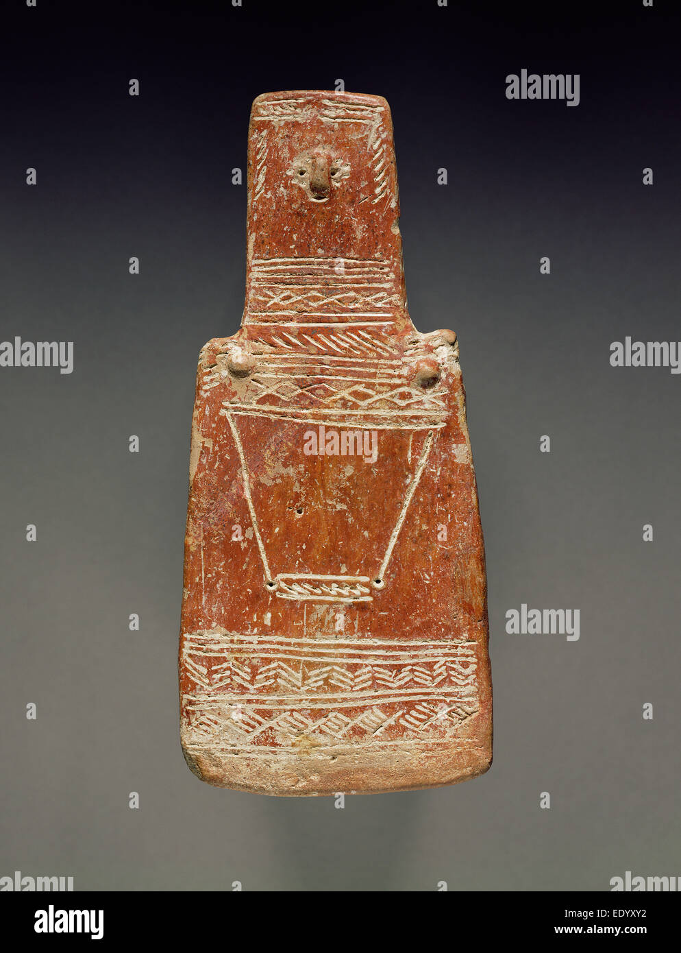 Red Polished Ware Plank Figure; Unknown; Cyprus; about 2000 - 1900 B.C.; Terracotta Stock Photo
