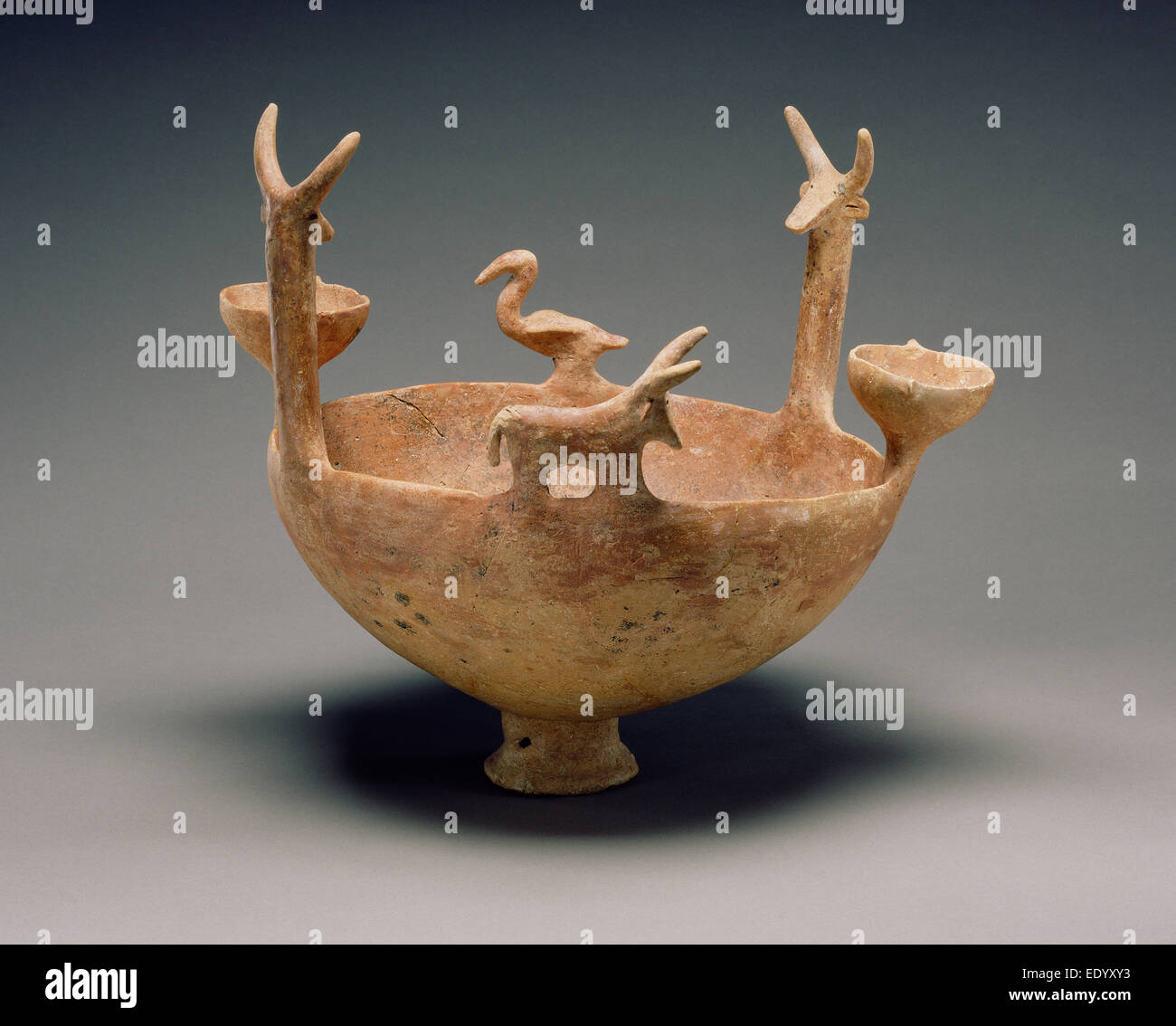 Red-Polished Ware Bowl with Modeled Figures; Unknown; Cyprus; 2300 - 1900 B.C.; Terracotta - Stock Image