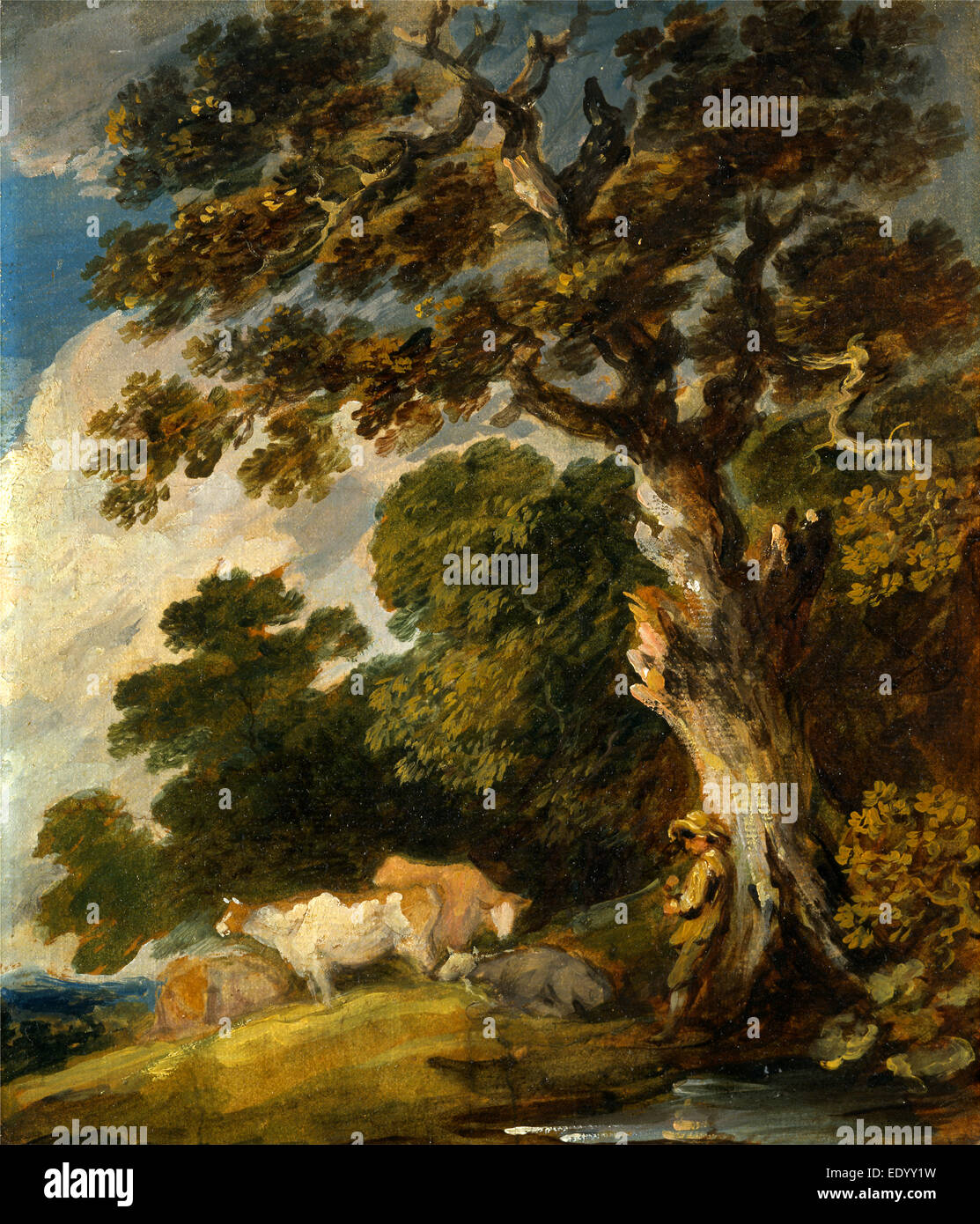 A Wooded Landscape with Cattle and Herdsman, Gainsborough Dupont, 1754-1797, British - Stock Image