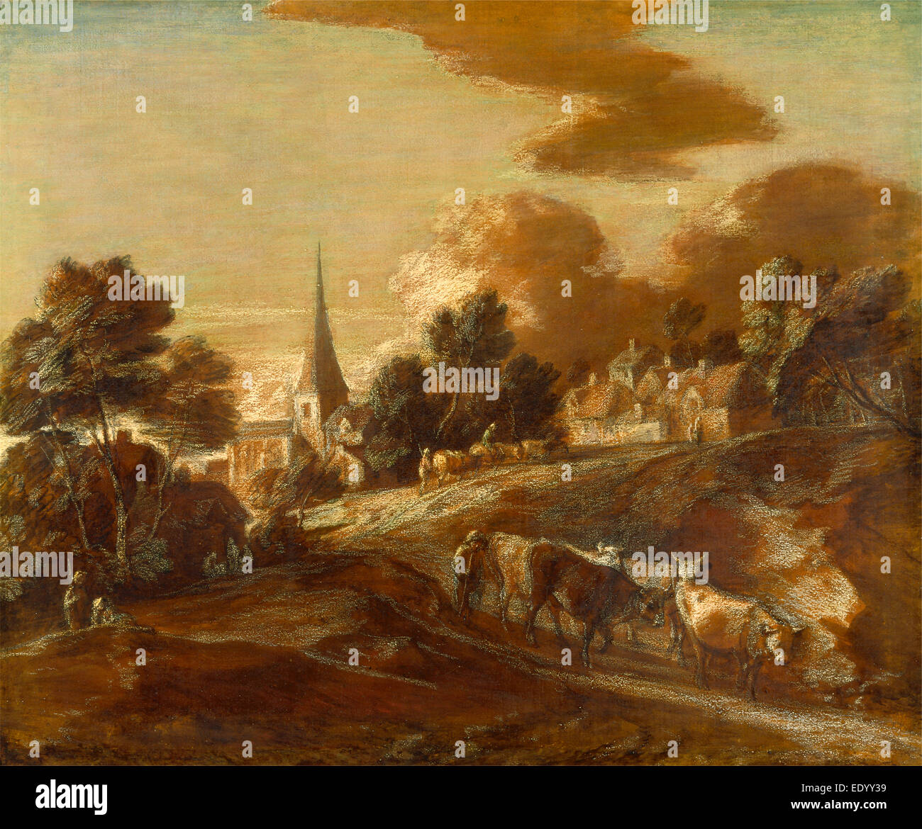 An Imaginary Wooded Village with Drovers and Cattle, Thomas Gainsborough, 1727-1788, British - Stock Image