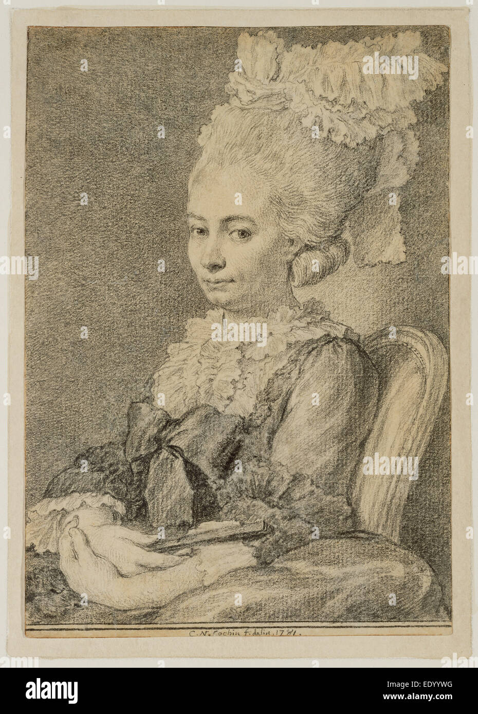 Portrait of a Young Woman Holding a Fan; Charles-Nicolas Cochin II, French