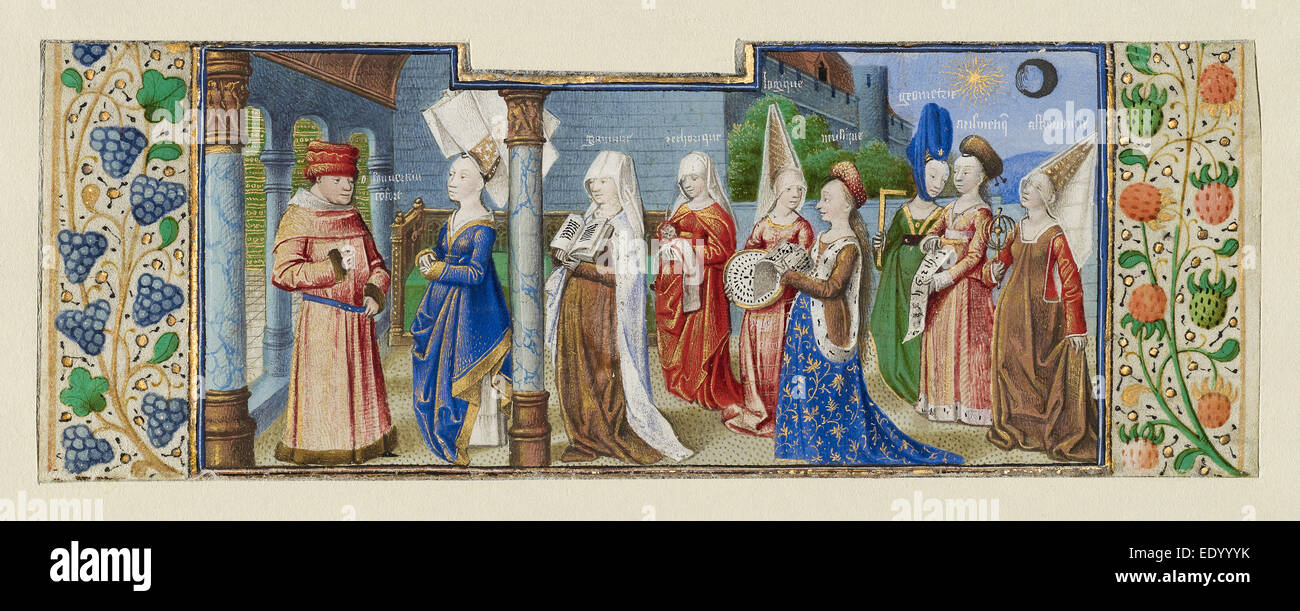 Philosophy Presenting the Seven Liberal Arts to Boethius; Coëtivy Master (Henri de Vulcop?), French, active - Stock Image