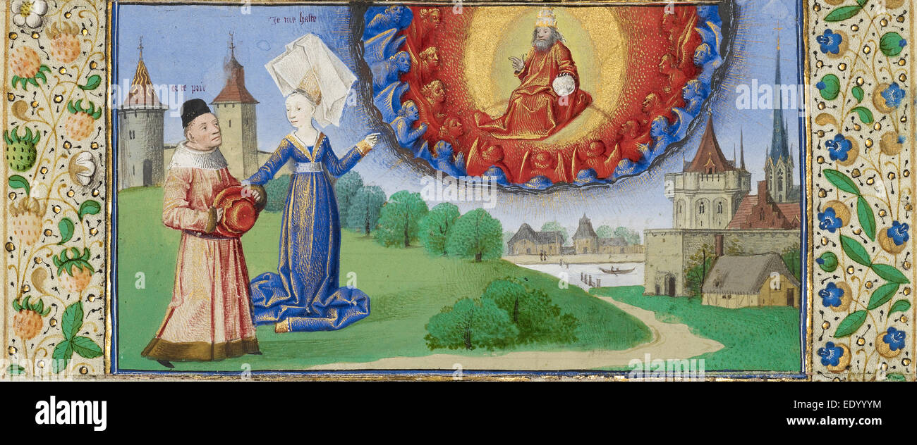 Philosophy Instructing Boethius on the Role of God; Coëtivy Master (Henri de Vulcop?), French, active about - Stock Image