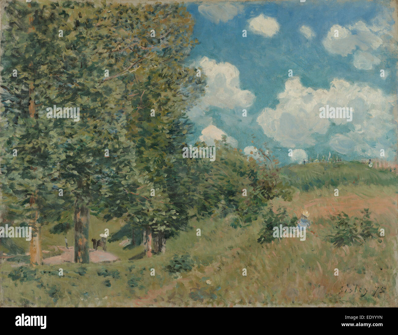 The Road from Versailles to Saint-Germain; Alfred Sisley, English, 1839 - 1899; 1875; Oil on canvas - Stock Image