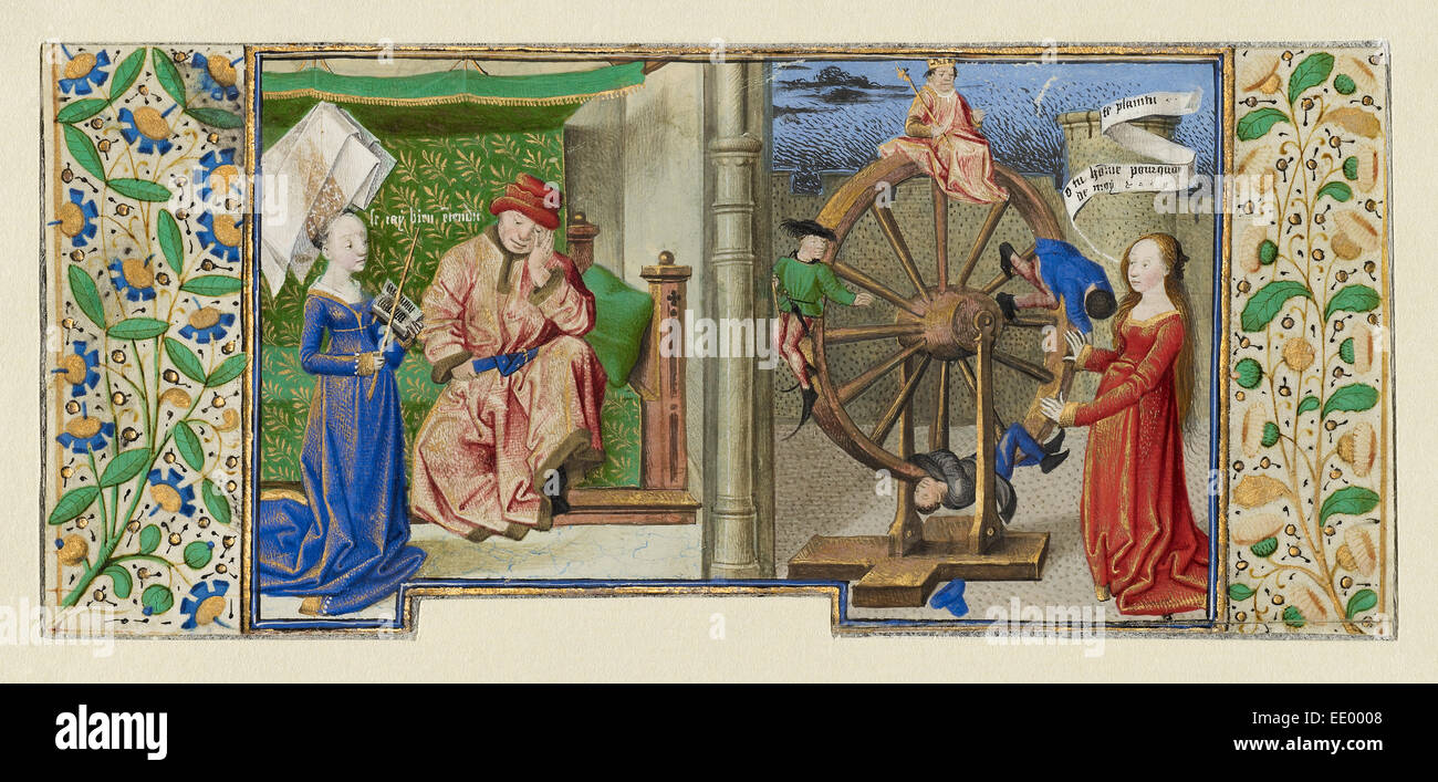 Philosophy Consoling Boethius and Fortune Turning the Wheel; Coëtivy Master (Henri de Vulcop?), French - Stock Image