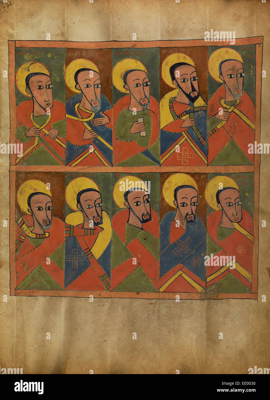 The Apostles; Unknown; Ethiopia, Africa; about 1480 - 1520; Tempera on parchment - Stock Image