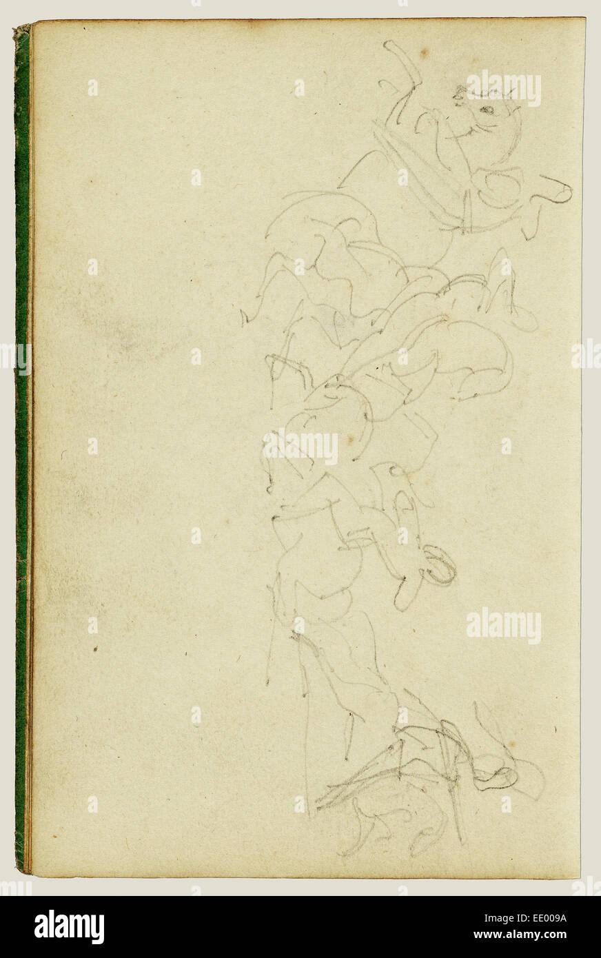 Calvary skirmish with four horsemen; Théodore Géricault, French, 1791 - 1824; 1812 - 1814; Graphite - Stock Image