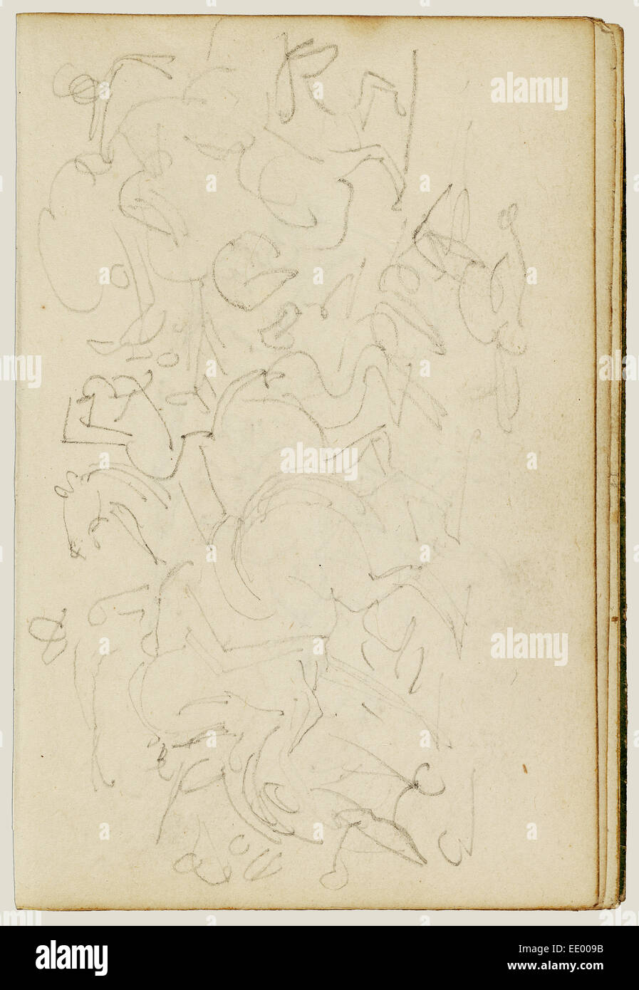 Calvary skirmish; Théodore Géricault, French, 1791 - 1824; 1812 - 1814; Graphite - Stock Image