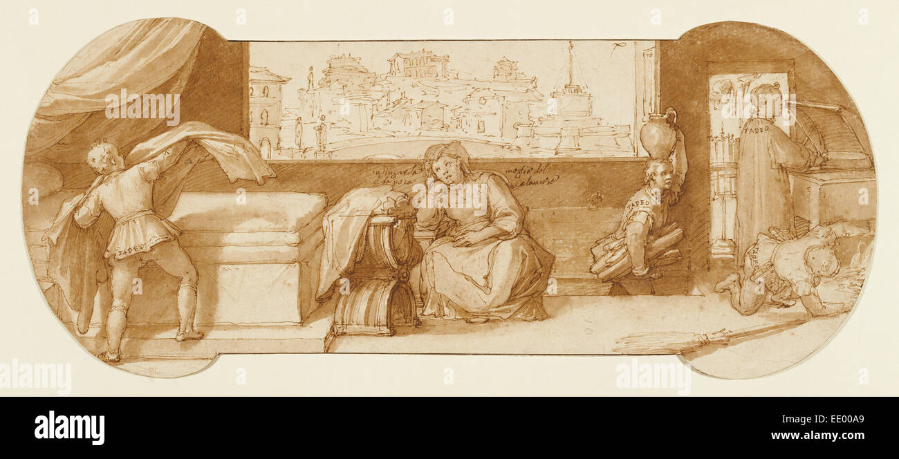 Taddeo Employed on Menial Tasks at Calabrese's House; Federico Zuccaro, Italian, about 1541 - 1609; about 1595; - Stock Image