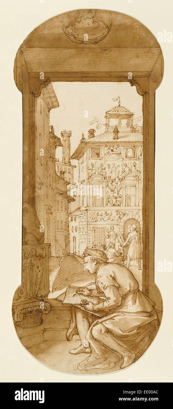 Taddeo Drawing after the Antique,  In the Background Copying a Facade by Polidoro; Federico Zuccaro, Italian, about - Stock Image