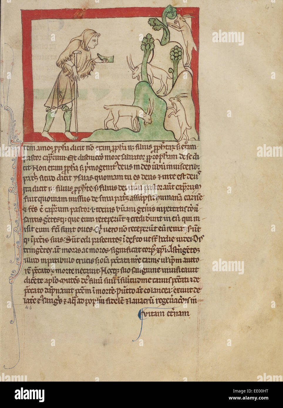 The Prophet Amos; Unknown; England, Europe; about 1250 - 1260; Pen-and-ink drawings tinted with body color Stock Photo