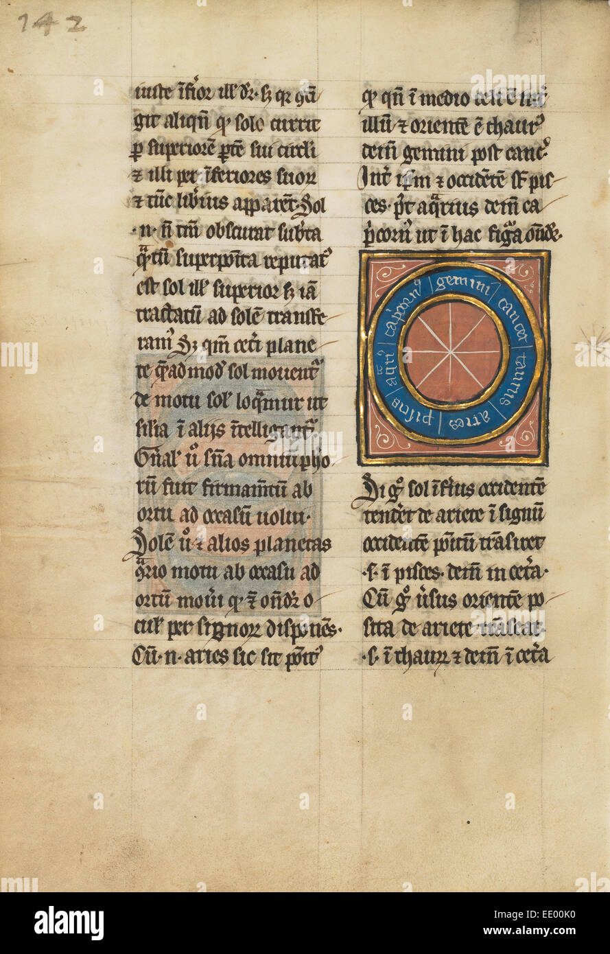 Diagram with Seven Signs of the Zodiac; Unknown; Thérouanne ?, France (formerly Flanders), Europe - Stock Image