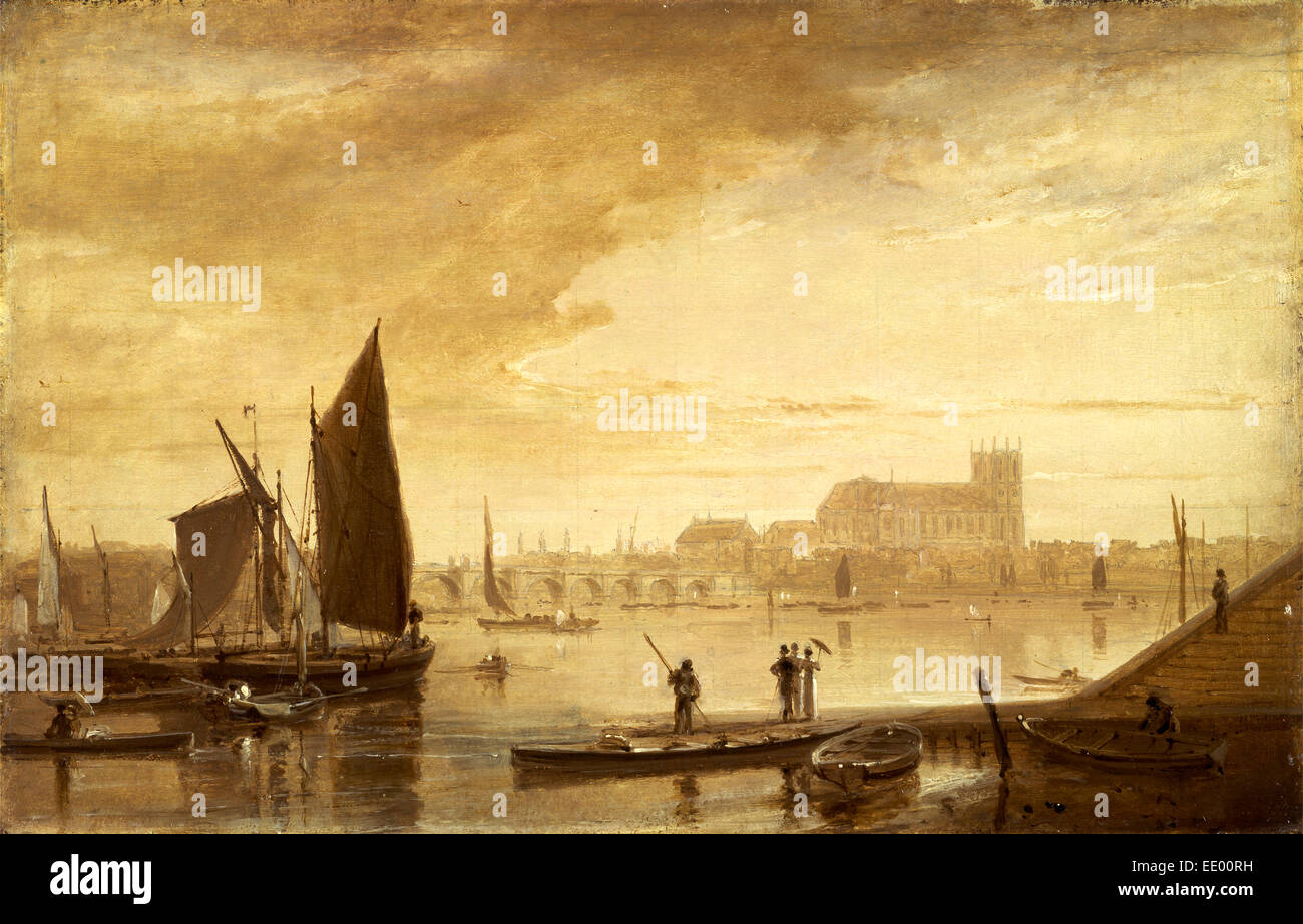 Westminster Bridge and Abbey, London, William Daniell, 1769-1837, British - Stock Image
