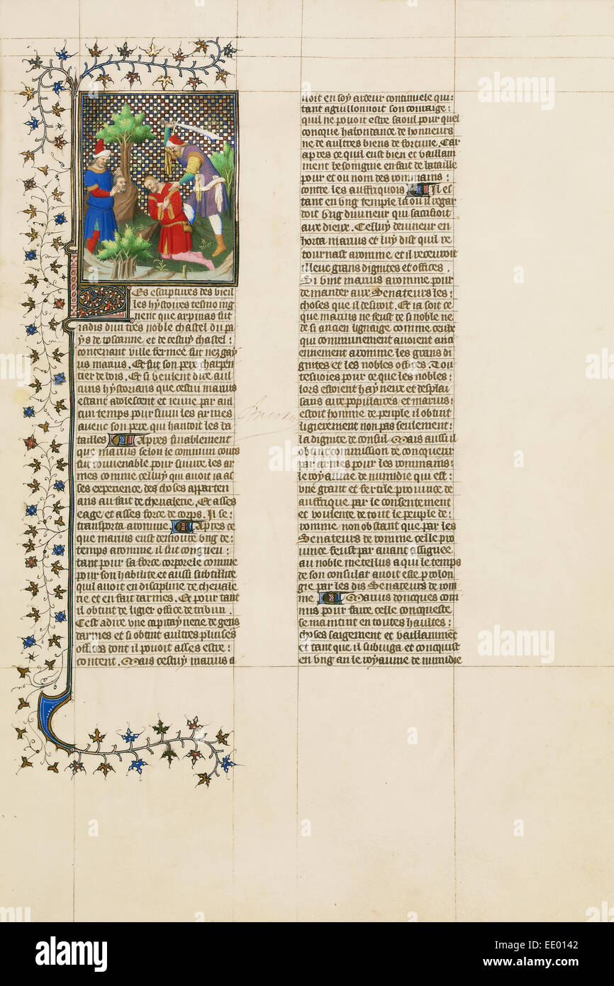 The Head of Marcus Shown to Caius Marius and Marius Killed by a Slave; Unknown; Paris, France, Europe; about 1413 - Stock Image
