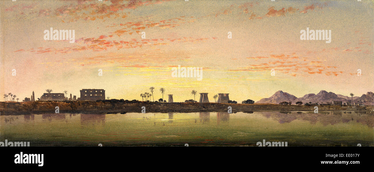 Pylons at Karnak, the Theban Mountains in the Distance, Edward William Cooke, 1811-1880, British - Stock Image