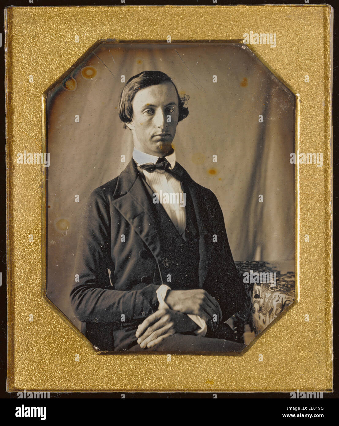 Portrait of a Man with Crossed Hands; Unknown maker, American; about 1845; Daguerreotype - Stock Image