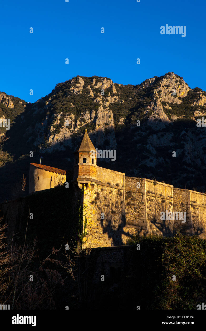 Sunset in Villefranche-de-Conflent, a Vauban-designed fortified town at the confluence of the rivers Tet & Cady - Stock Image