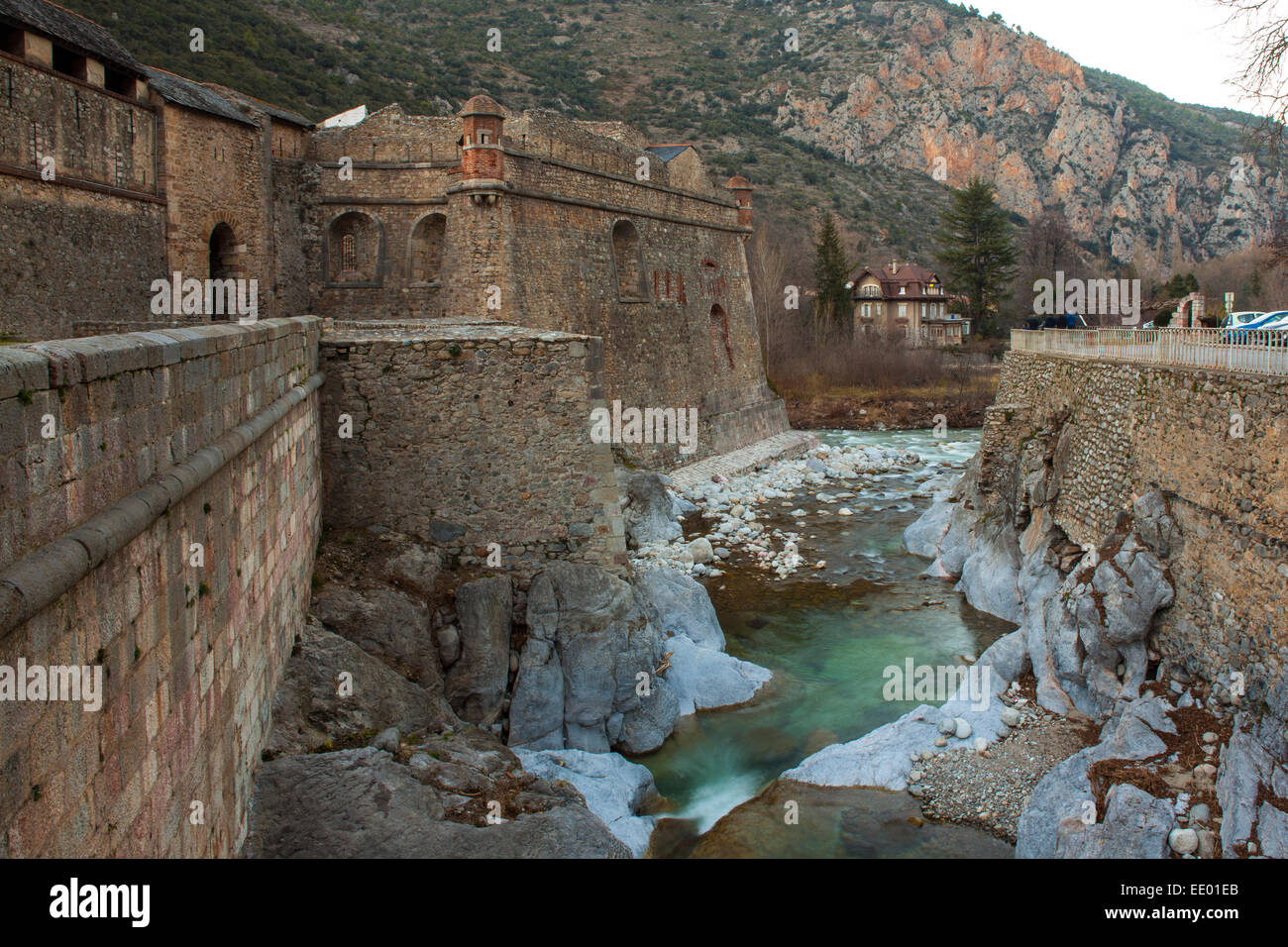 Villefranche-de-Conflent, a Vauban-designed fortified town at the confluence of the rivers Tet & Cady in the - Stock Image