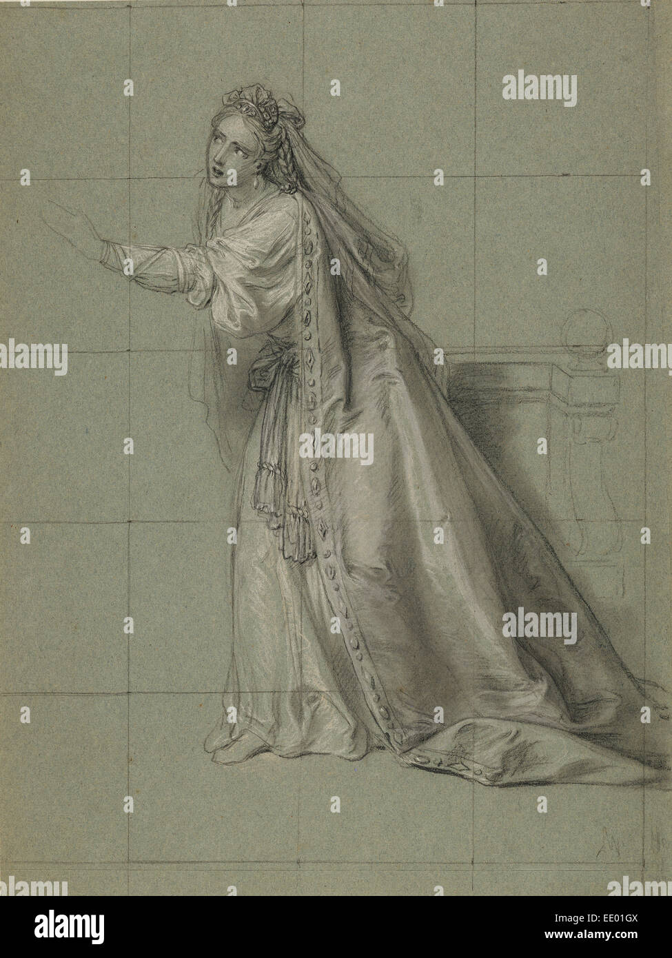 Study of a Woman (Rodugune) Turned toward the Left; Charles-Antoine Coypel, French, 1694 - 1752; about 1749 - Stock Image