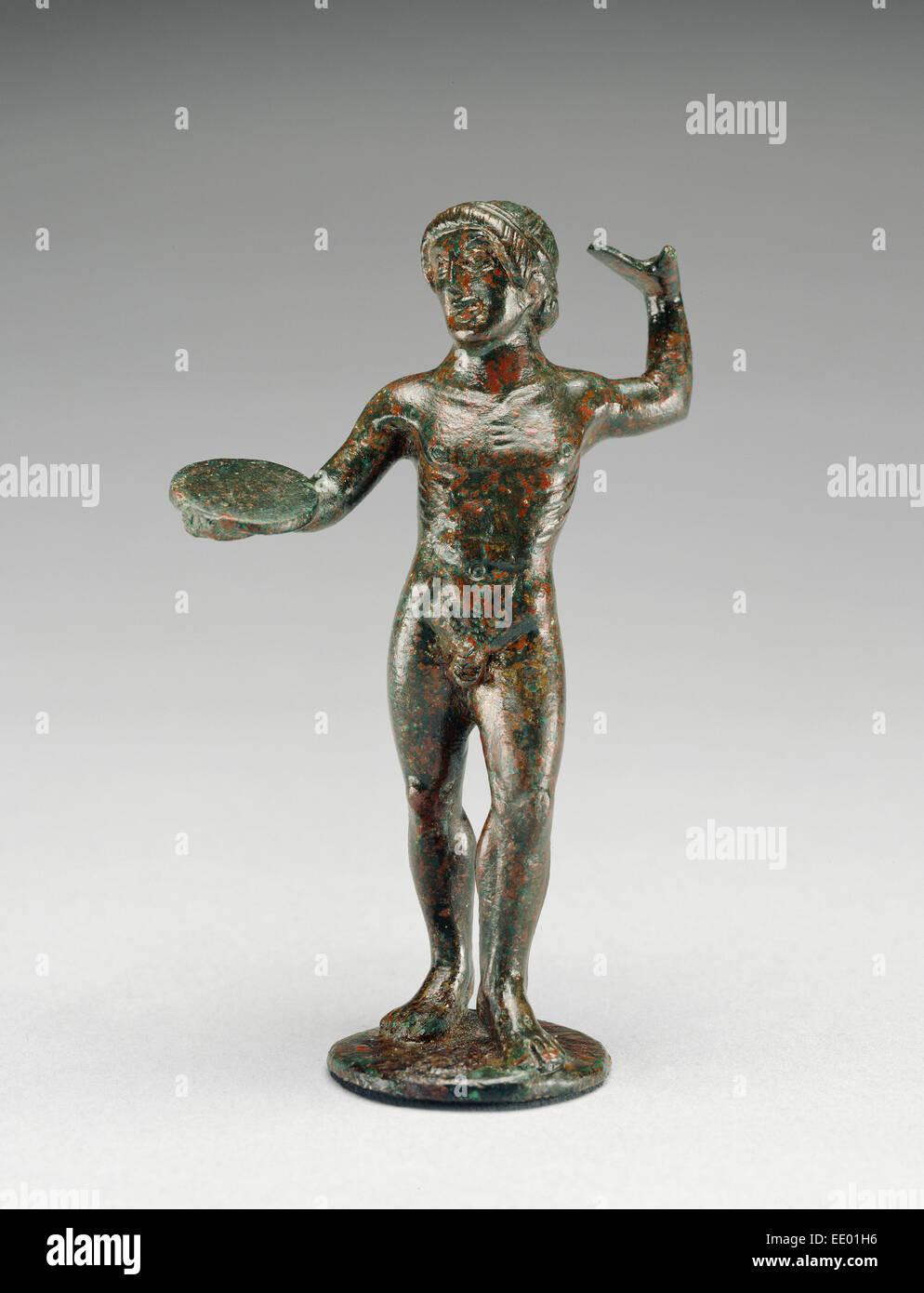 Statuette of a Diskobolos; Unknown; Etruria; 480 B.C.; Bronze - Stock Image