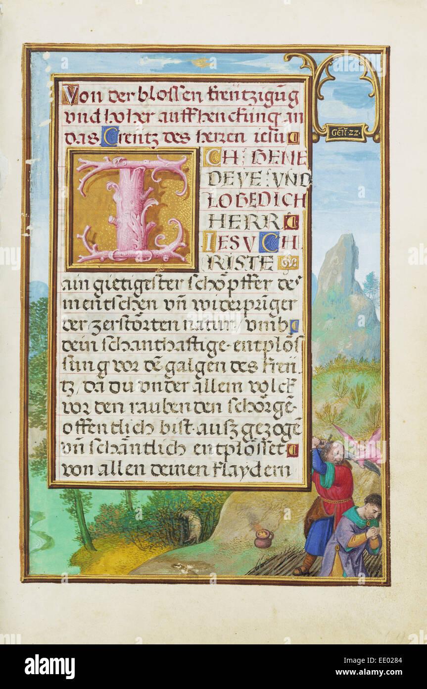 Border with the Sacrifice of Isaac; Simon Bening, Flemish, about 1483 - 1561; Bruges, Belgium, Europe; about 1525 - Stock Image