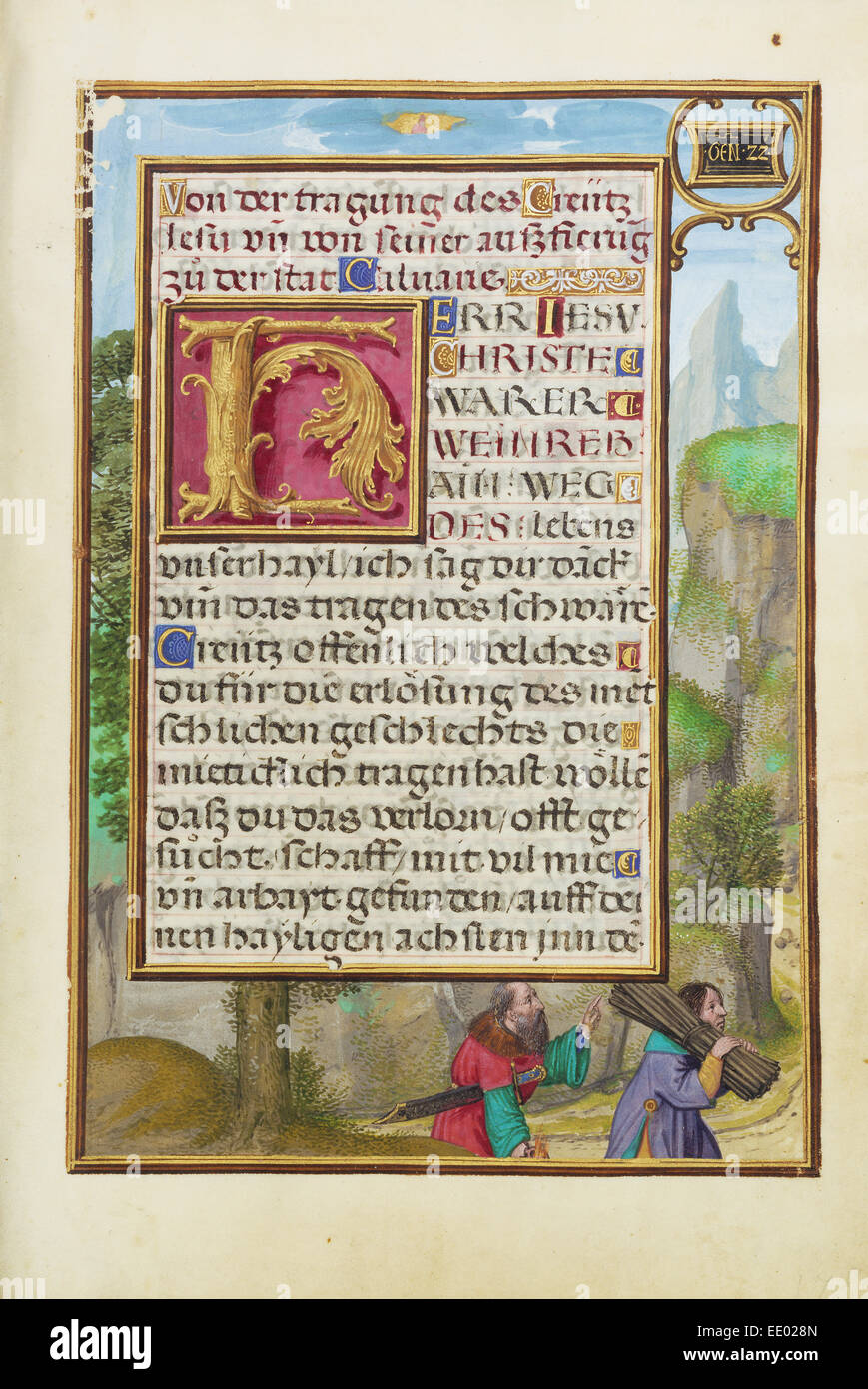 Border with Abraham and Isaac; Simon Bening, Flemish, about 1483 - 1561; Bruges, Belgium, Europe; about 1525 - 1530 - Stock Image