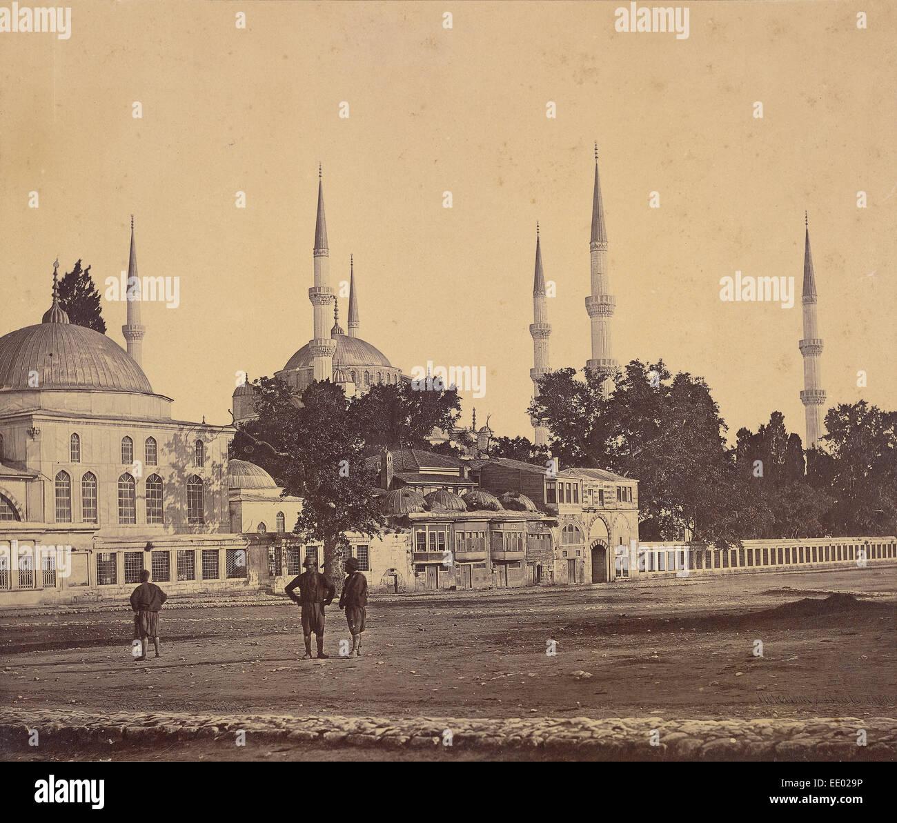 Sultan Ahmed's Mosque; Felice Beato, English, born Italy, 1832 - 1909, James Robertson, English, 1813 - 1888; - Stock Image
