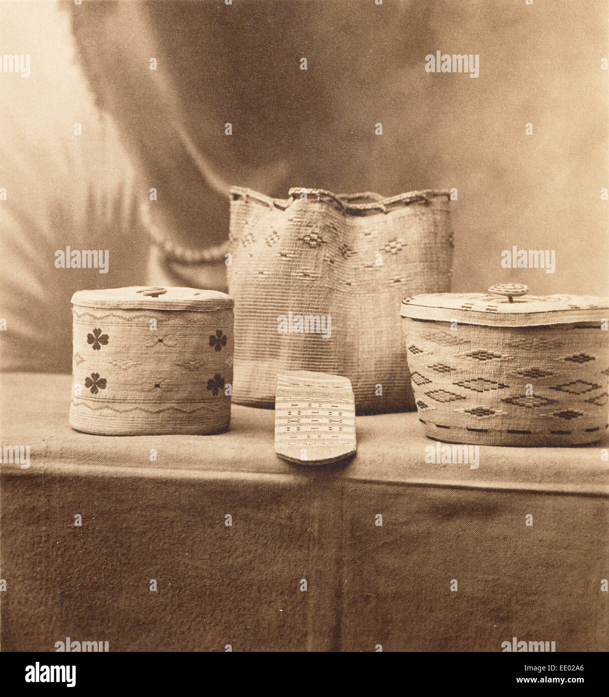[Baskets]; A.C. Vroman, American, 1856 - 1916; about 1898; Sepia toned waxed platinum print - Stock Image