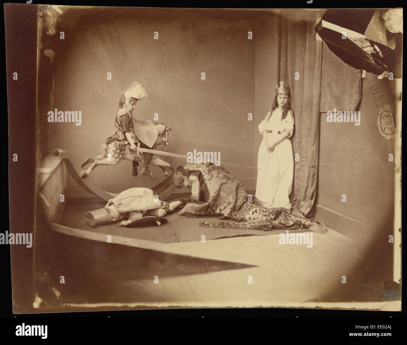 Saint George and the Dragon; Lewis Carroll, British, 1832 - 1898; June 26, 1875; Albumen silver print - Stock Image