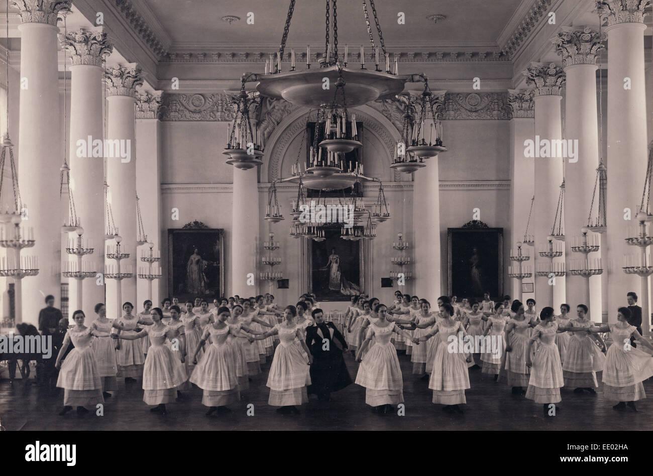 Dancing Lesson, the 'Mazurka'.; Karl Karlovitz Bulla, Russian, 1854 - 1929; before 1917; Gelatin silver - Stock Image