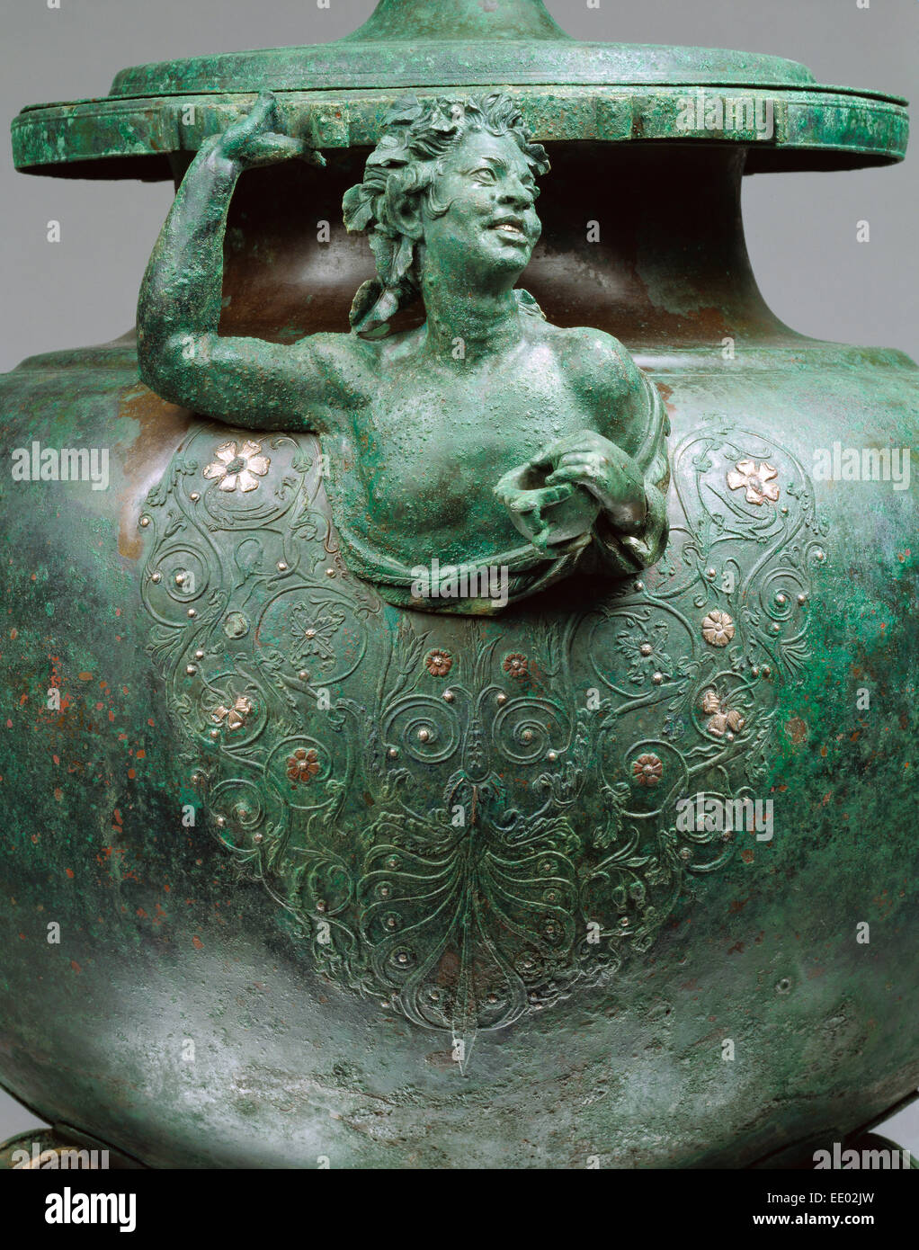 Lebes; Unknown; 50 - 1 B.C.; Bronze with silver - Stock Image