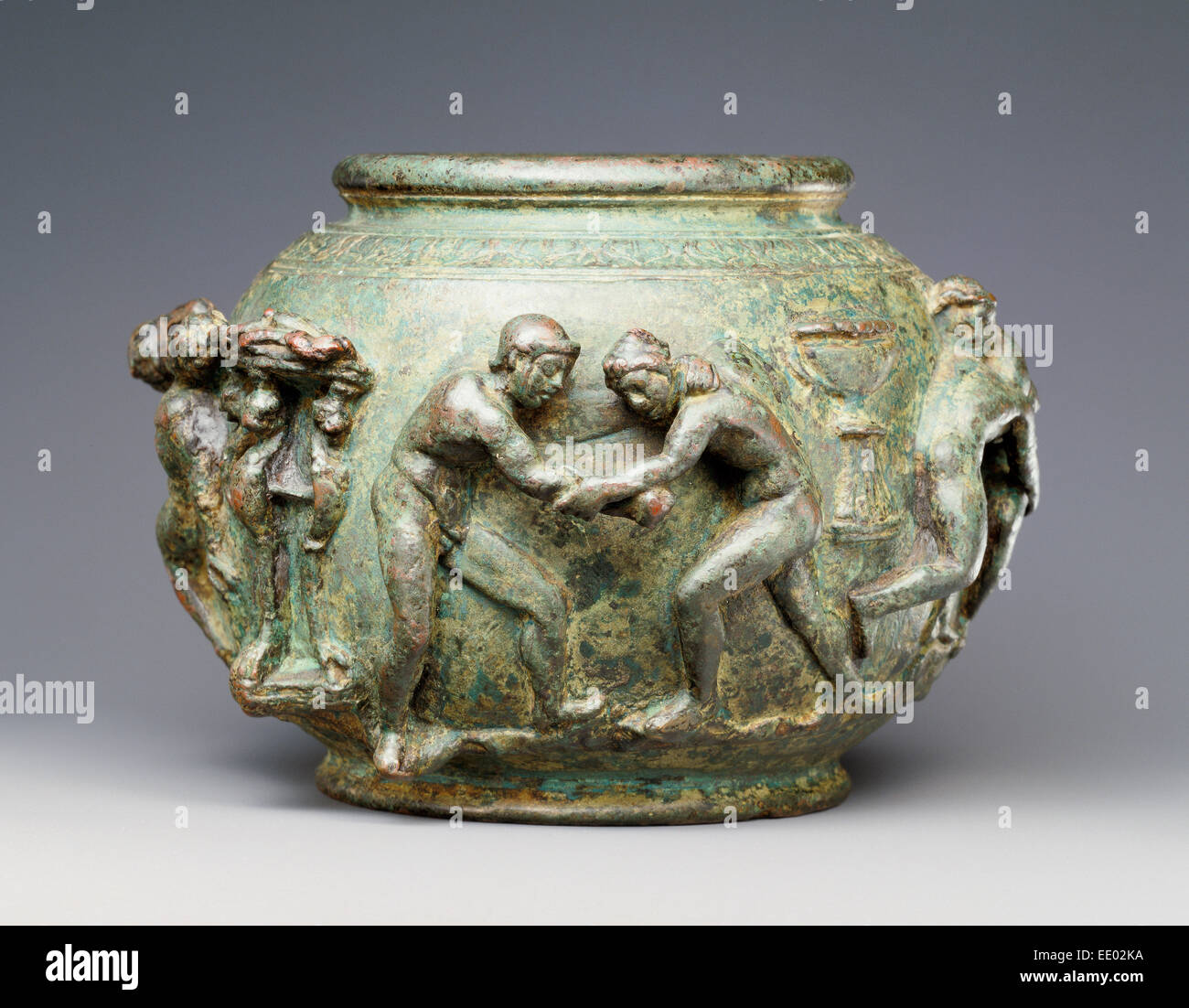 Situla with a Frieze of Athletic Contests; Unknown; Roman Empire; 75 - 100; Bronze - Stock Image