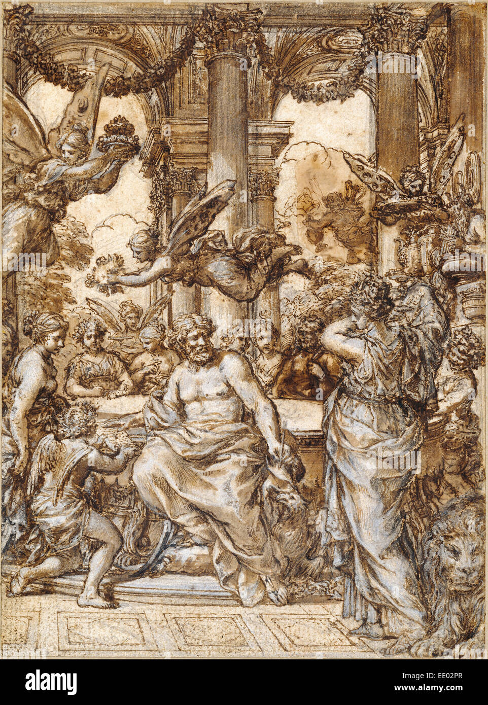 Cybele before the Council of the Gods; Pietro da Cortona, Italian, 1596 - 1669; Italy, Europe; 1633; Pen and brown - Stock Image