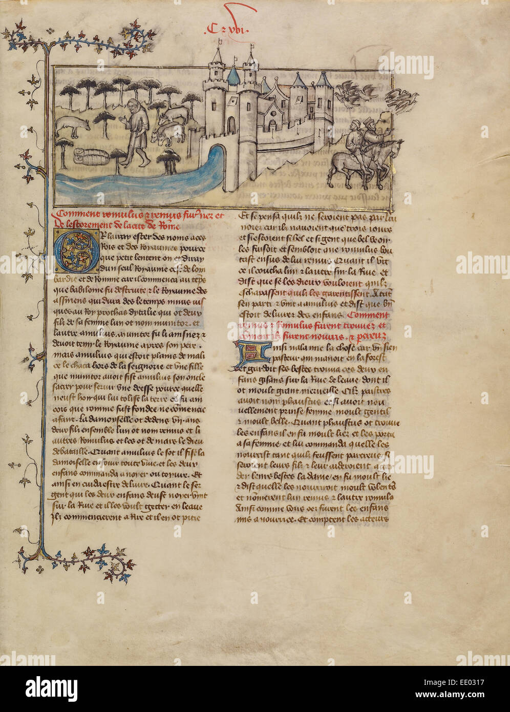 Romulus and Remus; First Master of the Bible historiale of Jean de Berry, French, active about 1390 - about 1400, - Stock Image