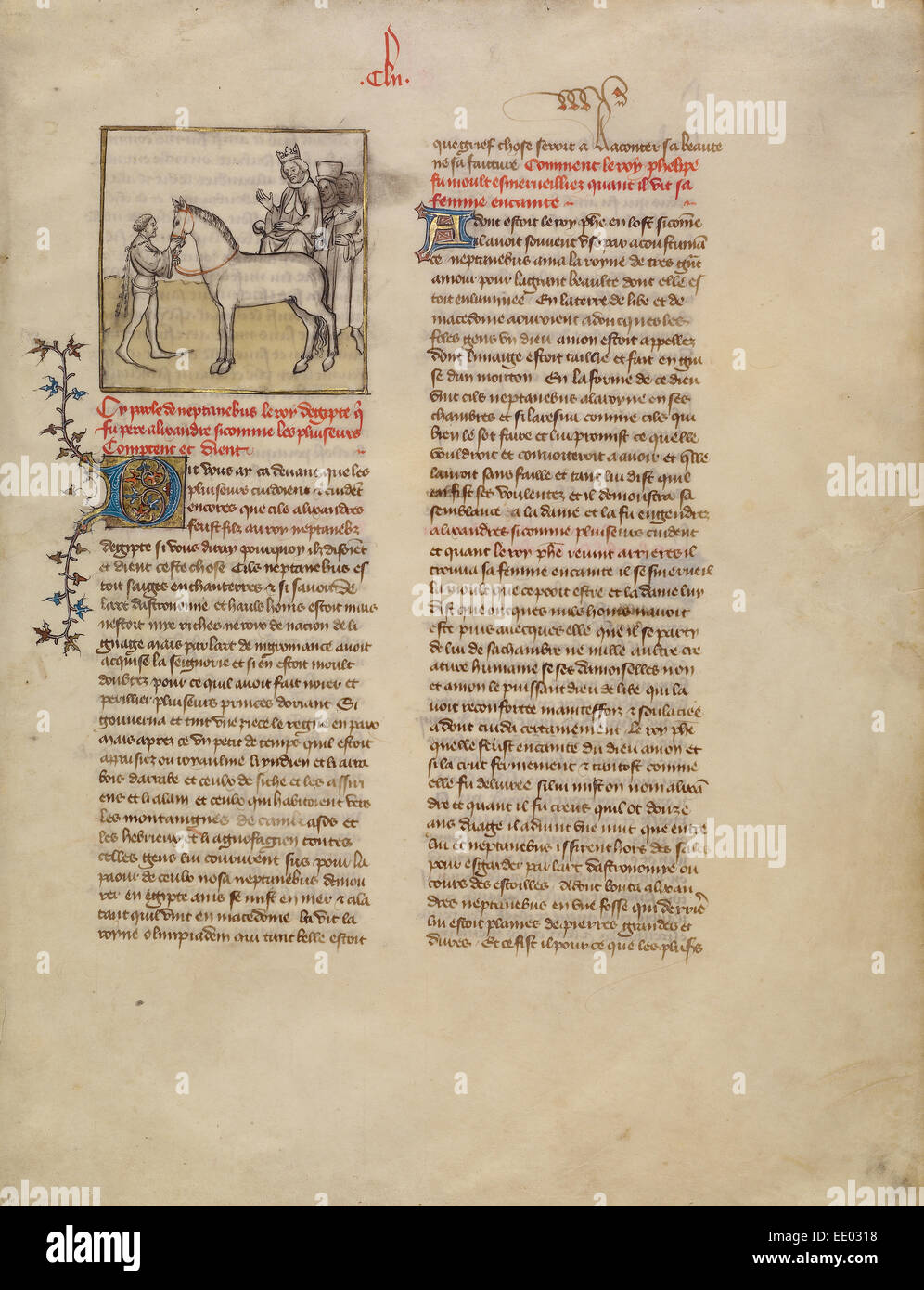 Alexander the Great; First Master of the Bible historiale of Jean de Berry, French, active about 1390 - about 1400 - Stock Image