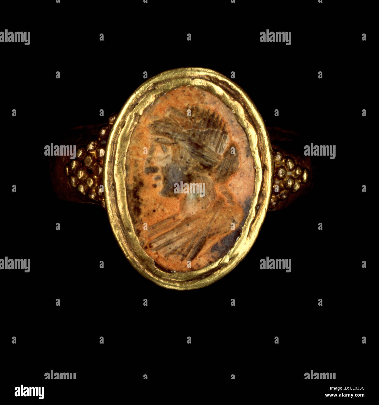 Ring; Unknown; Roman Empire; 250 - 400; Gold, carnelian - Stock Image