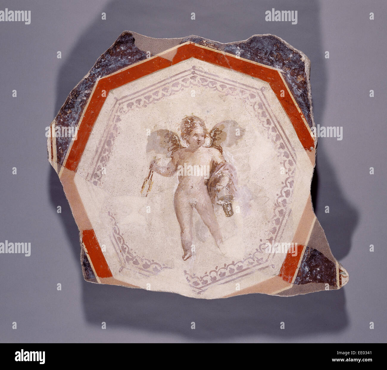 Fresco Depicting Cupid holding Two Sticks and a Pail; Unknown; Italy, Europe; 1st century; Plaster and pigment - Stock Image