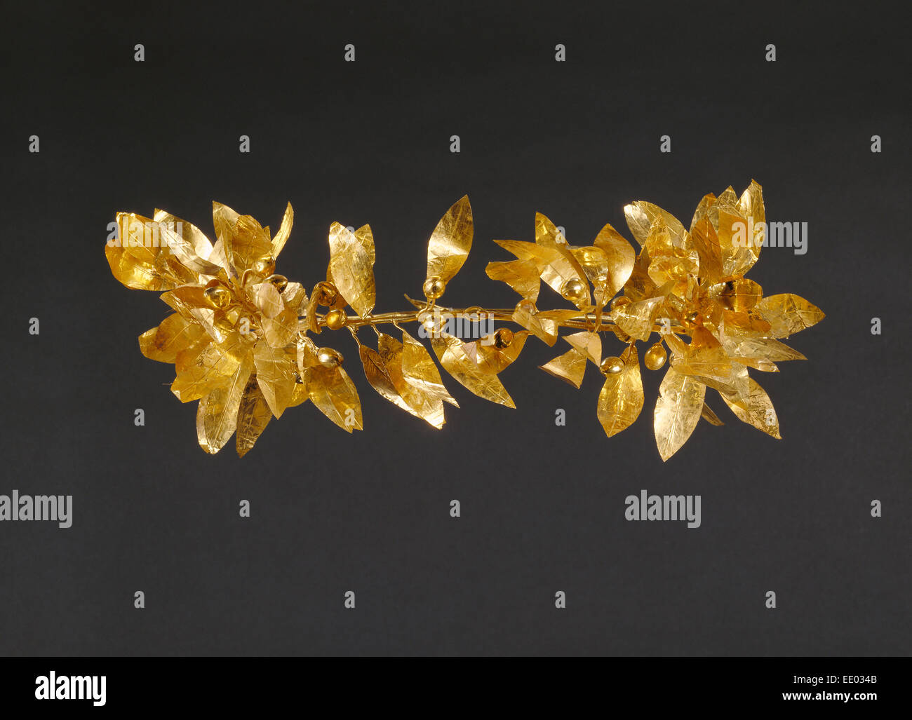 Wreath with detached stem including leaves and detached berries; Unknown; Greece, Europe; 300 - 100 B.C.; Gold - Stock Image
