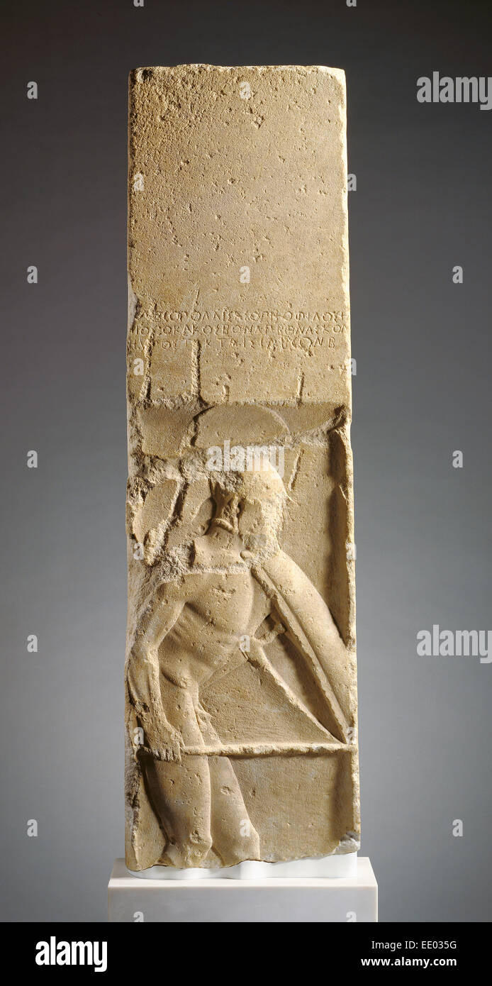 Grave Stele of Pollis; Unknown; Megara, Greece, Europe; about 480 B.C.; Parian marble - Stock Image